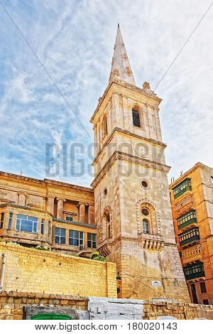 Street View Of Saint Paul Cathedral In Valletta Old Town