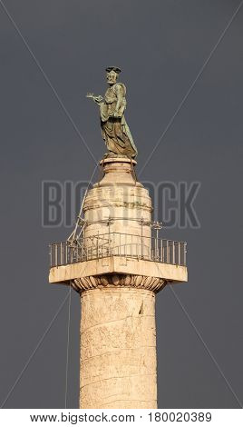 ROME, ITALY - SEPTEMBER 01: Bronze statue of St Peter, Church of the Most Holy Name of Mary (Chiesa del Santissimo Nome di Maria al Foro Traiano) at the Trajan Forum in Rome, on September 01, 2016.