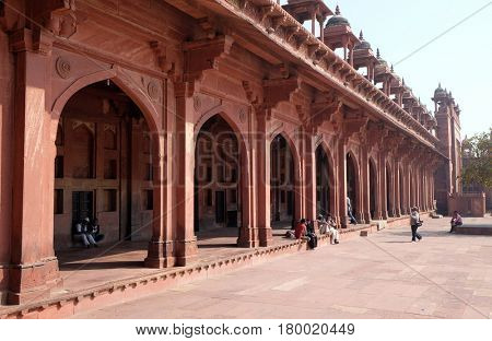 FATEHPUR SIKRI, INDIA - FEBRUARY 15 : Historical city constructed by Mughal emperor Akbar in Fatehpur Sikri, Uttar Pradesh, India on February, 15, 2016.