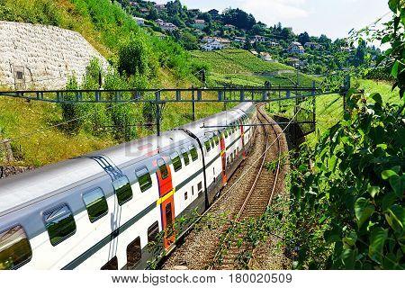 Swiss Running Train At Vineyard Terraces Of Lavaux Of Switzerland