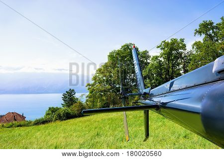 Tail Of Helicopter At Lavaux Switzerland