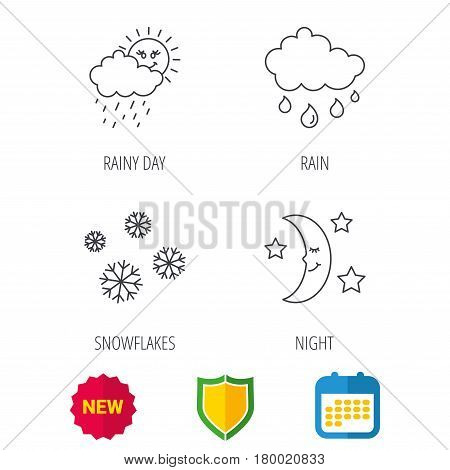 Weather, snowflakes and rain icons. Moon night linear sign. Shield protection, calendar and new tag web icons. Vector
