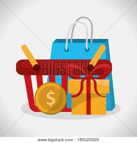 shopping basket and gift box over white background. colorful design.v ector illustration