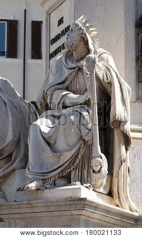 ROME, ITALY - SEPTEMBER 02: King David by Tadolini on the Column of the Immaculate Conception on Piazza Mignanelli in Rome, Italy on September 02, 2016.