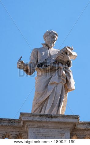 ROME, ITALY - SEPTEMBER 02: St. Cajetan Thiene, fragment of colonnade of St. Peters Basilica. Papal Basilica of St. Peter in Vatican, Rome, Italy on September 02, 2016.