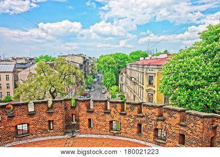 City Center From Defensive Walls Of Wawel Castle In Krakow