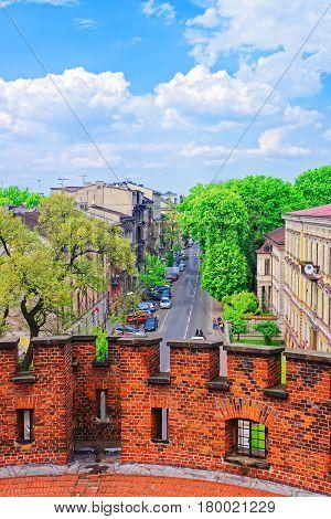 City Center From Defensive Walls Of Wawel Castle Krakow