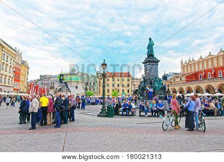 Crowds Of People At Church Of St Adalbert In Krakow