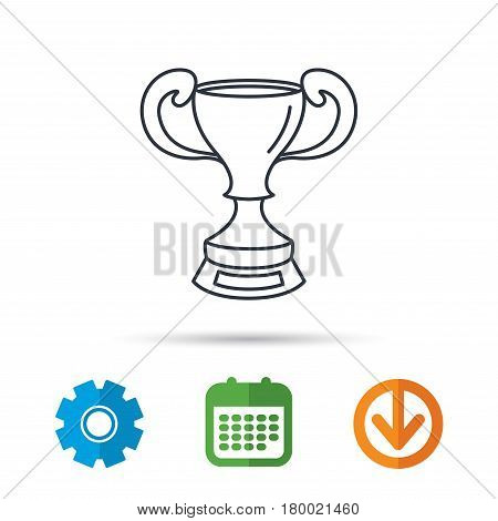 Winner cup icon. Award sign. Victory achievement symbol. Calendar, cogwheel and download arrow signs. Colored flat web icons. Vector