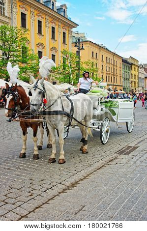 Horse Fiacre And People In Old Town In Krakow