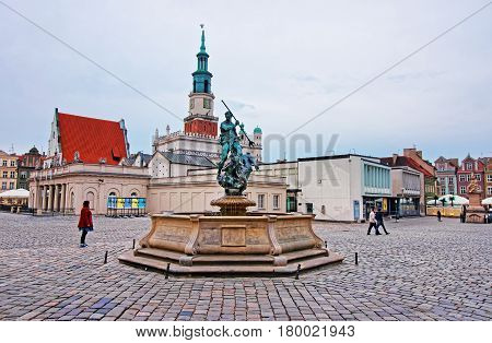 Neptune Fountain On Old Market Square Of Poznan