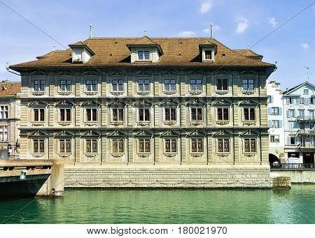 Old Town Hall At Limmat In Zurich Swiss