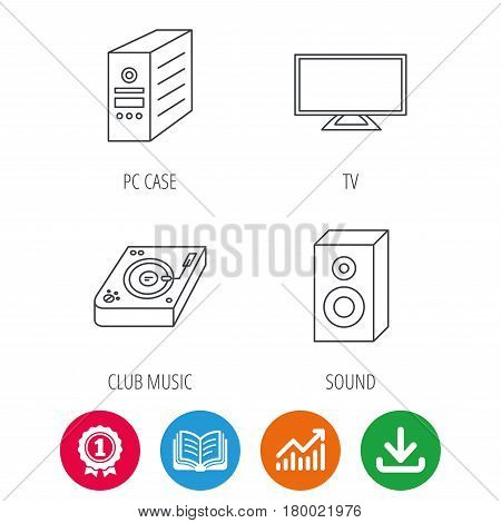 Sound, club music and pc case icons. TV linear sign. Award medal, growth chart and opened book web icons. Download arrow. Vector
