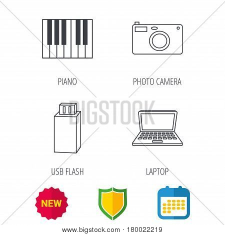 Photo camera, USB flash and notebook laptop icons. Piano linear sign. Shield protection, calendar and new tag web icons. Vector