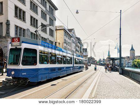Running Tram At Limmatquai In Zurich