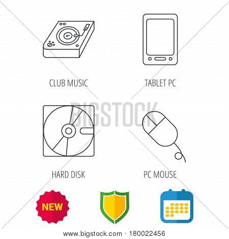 Tablet PC, Hard disk and pc mouse icons. Club music linear sign. Shield protection, calendar and new tag web icons. Vector