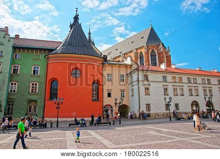 St Barbara Church At Small Market Place In Krakow