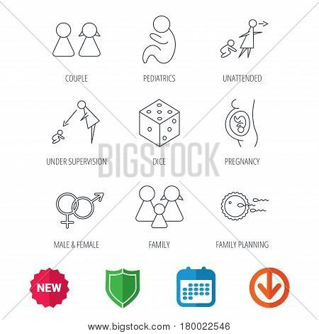 Pregnancy, pediatrics and family planning icons. Under supervision, unattended and baby child linear signs. Dice, male and female icons. New tag, shield and calendar web icons. Download arrow. Vector