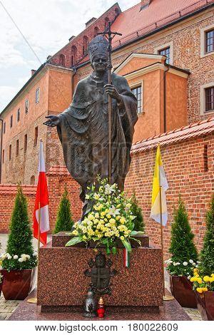 Statue Of John Paul In Wawel Castle In Krakow