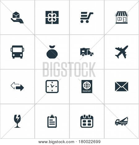 Vector Illustration Set Of Simple Handing Icons. Elements Caravan , Holdall , Hand Synonyms Arrow, Present And Bus.