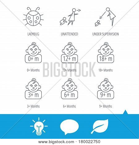 Infant child, ladybug and toddler baby icons. 0-18 months child linear signs. Unattended, parents supervision icons. Light bulb, speech bubble and leaf web icons. Vector