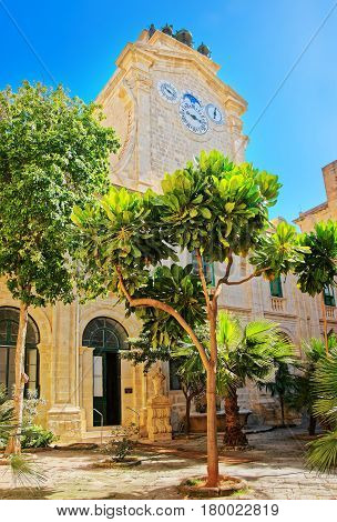 Clock Tower At Prince Alfred Courtyard Of Valletta