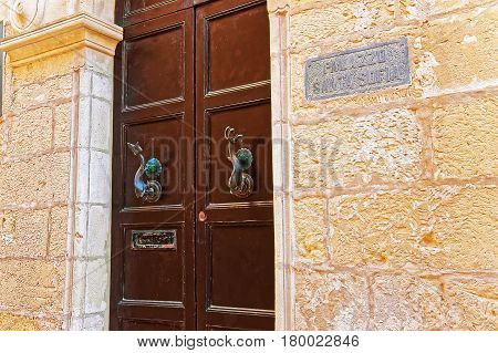 Door With Handles Of Palazzo Santa Sofia In Mdina