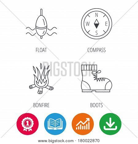 Bonfire, fishing float and hiking boots icons. Compass linear sign. Award medal, growth chart and opened book web icons. Download arrow. Vector