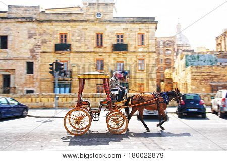 Fiacre In Street Of Valletta Old Town