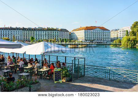 People In Street Open Air Restaurant On Promenade Geneva Lake