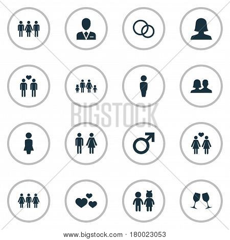 Vector Illustration Set Of Simple Beloved Icons. Elements Wineglass, Mates, Lineage And Other Synonyms Attorney, Men And Gentleman.