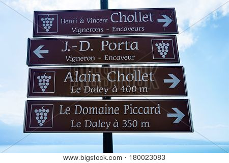 Sign Plates At Vineyard Terraces Trail Of Lavaux Switzerland
