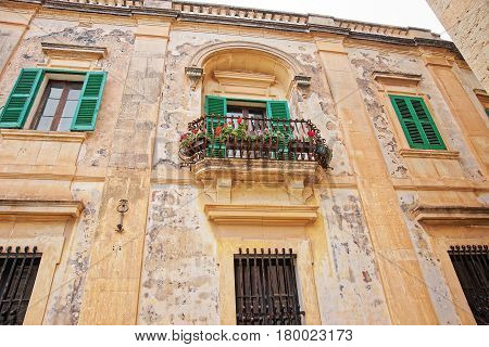 Balcony With Flowers At Mdina Old Town