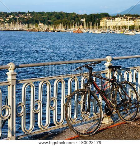 Bicycle At Promenade Of Quai Fleuri At Geneva Lake Switzerland