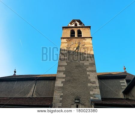 Clock Tower Of Madeleine Church At Old Town Of Geneva