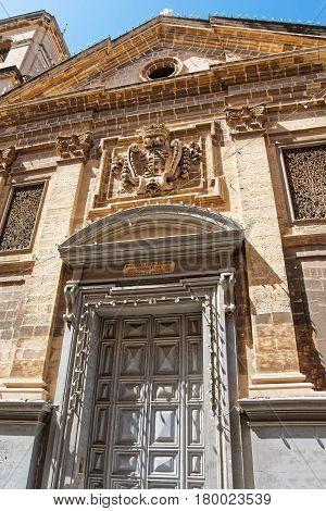 Facade Of St Francis Of Assisi Church In Valletta