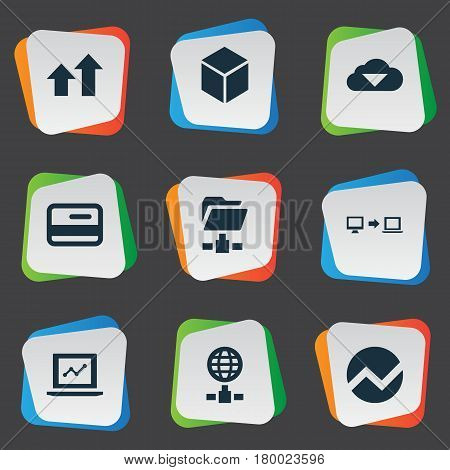 Vector Illustration Set Of Simple Business Icons. Elements Increase, Plastic Money, Economy And Other Synonyms Folder, Finance And Cloud.