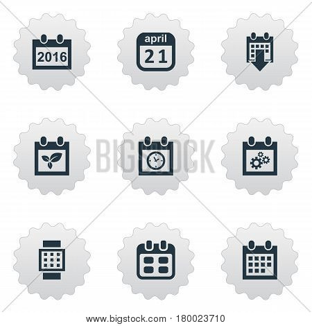 Vector Illustration Set Of Simple Plan Icons. Elements Remembrance, Planner, Almanac And Other Synonyms April, Watch And Almanac.