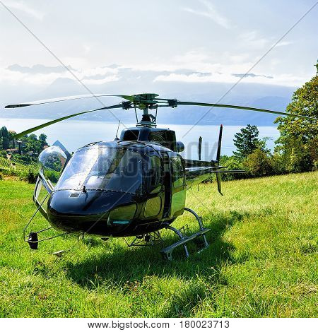 Helicopter In Lavaux Of Switzerland