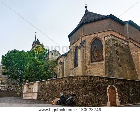 Madeleine Church In Old Town Of Geneva