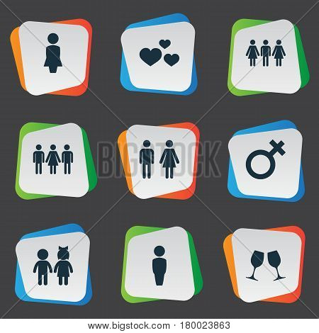Vector Illustration Set Of Simple Lovers Icons. Elements Candidate, Madame, Children Synonyms Candidate, Man And People.
