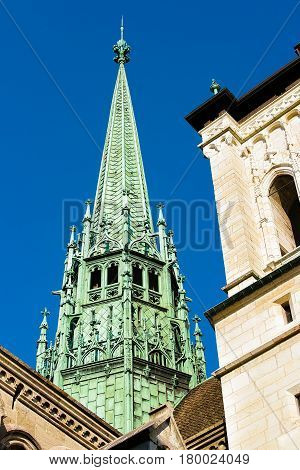 Spire In St Pierre Cathedral In Old Town Of Geneva