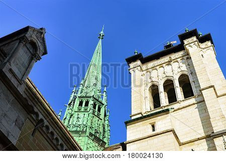 Steeple Of St Pierre Cathedral In Old Town Of Geneva