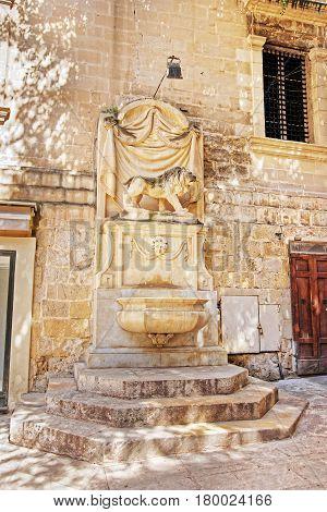 Street Fountain Stone Sculpture Of Lion Valletta Old Town