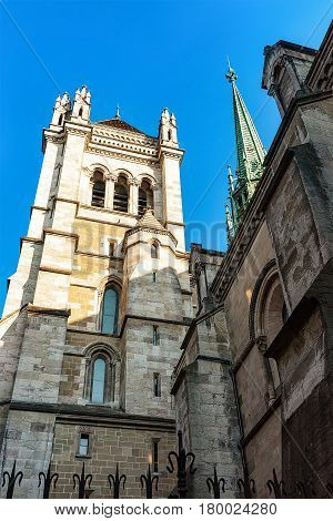 Tower Of St Pierre Cathedral In Old Town Of Geneva