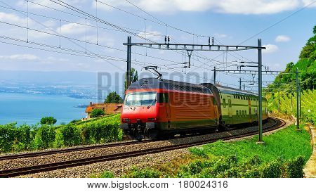 Train And Railroad At Lavaux Vineyard Terraces Lake Geneva Alps