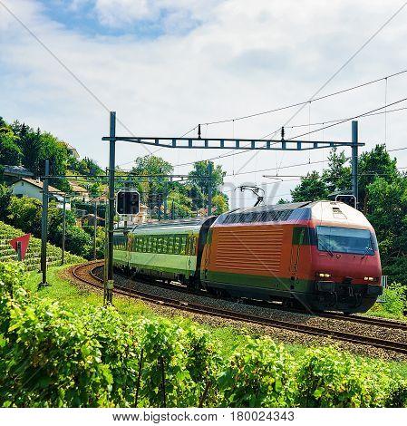 Train And Railroad Near Lavaux Vineyard Terrace