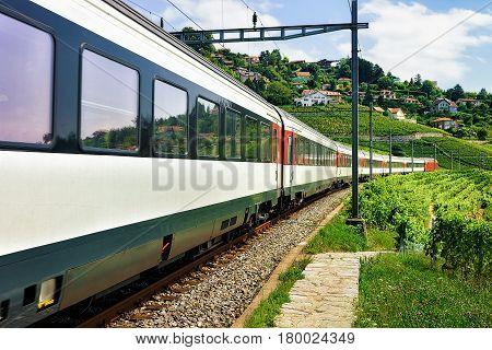 Train And Railroad Near Lavaux Vineyard Terraces