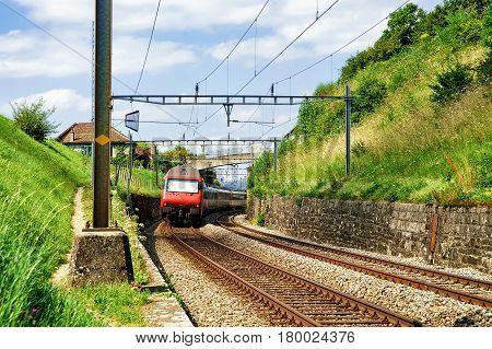 Train At Railroad Lavaux Vineyard Terraces