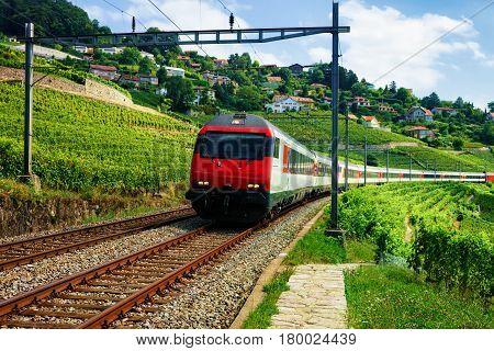 Train At Railroad Near Lavaux Vineyard Terraces